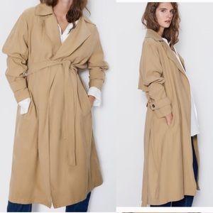 NWT Zara drapey Trench Coat with Belt
